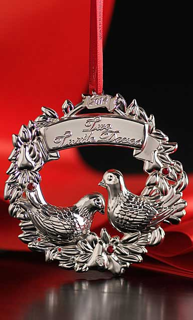 Waterford Silver Christmas Two Turtle Doves Ornament