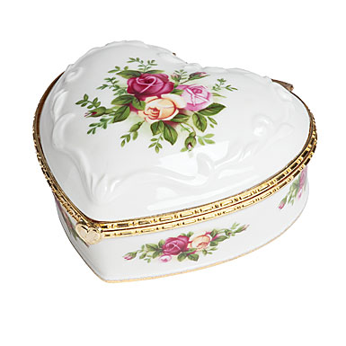 Royal Doulton Royal Albert Old Country Roses Musical Heart Jewelry Box