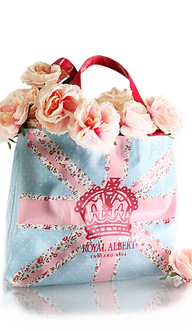Royal Albert New Country Roses Plasticised Shopping Bag, Pastel Union Jack