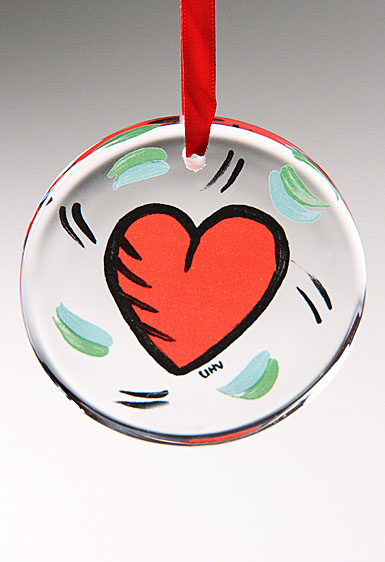 Kosta Boda Hearts Disc Ornament