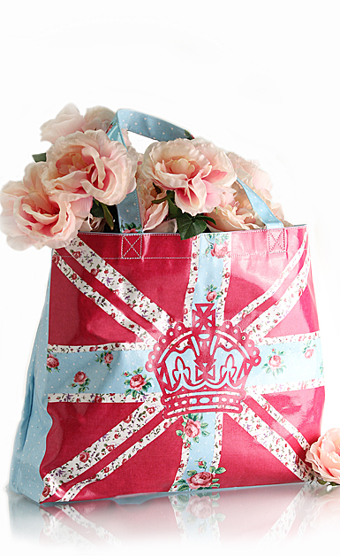 Royal Albert New Country Roses Plasticised Shopping Bag, Bright Union Jack
