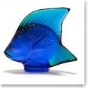 Lalique Ferrat Blue Luster Fish Sculpture