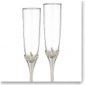 Monique Lhuillier Waterford Crystal and Silver Sunday Rose Silver Toasting Flute, Pair