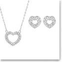 Swarovski Beloved Rhodium Heart Pendant Necklace and Pierced Earrings Set