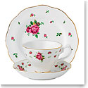 Royal Albert China New Country Roses White 3-Piece Set - Teacup, Saucer and Dessert Plate