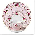 Royal Albert China New Country Roses Pink, Vintage Formal 5 Piece Place Setting
