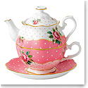 Royal Albert China New Country Roses Cheeky Pink Vintage Tea For One