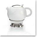 Nambe Metal Gourmet Bulbo 32 oz. Teapot With Infuser and Warming Base