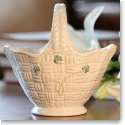 Belleek China Shamrock Handled Basket