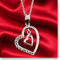 Cashs Crystal Sterling Silver Heart to Heart Pave Pendant Necklace